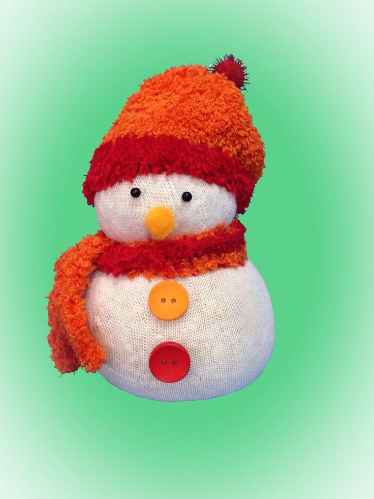 Muñeco de nieve hecho con calcetín