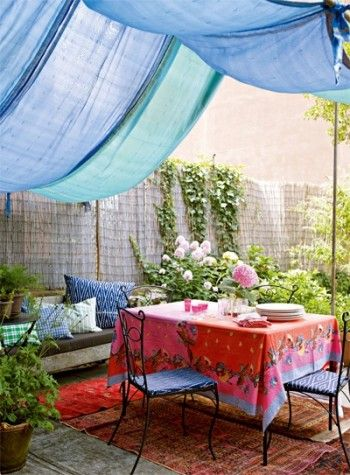 Beautiful Gardens, Terraces and Outdoor Spaces - Eclectic corner. Blue as a base colour and then the wild & wonderful tablecloth