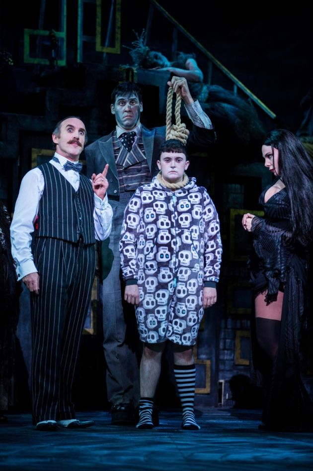 Cameron Blakely, Dickon Gough, Grant McIntyre and Samantha Womack in The Addams Family. Picture: Matt Martin