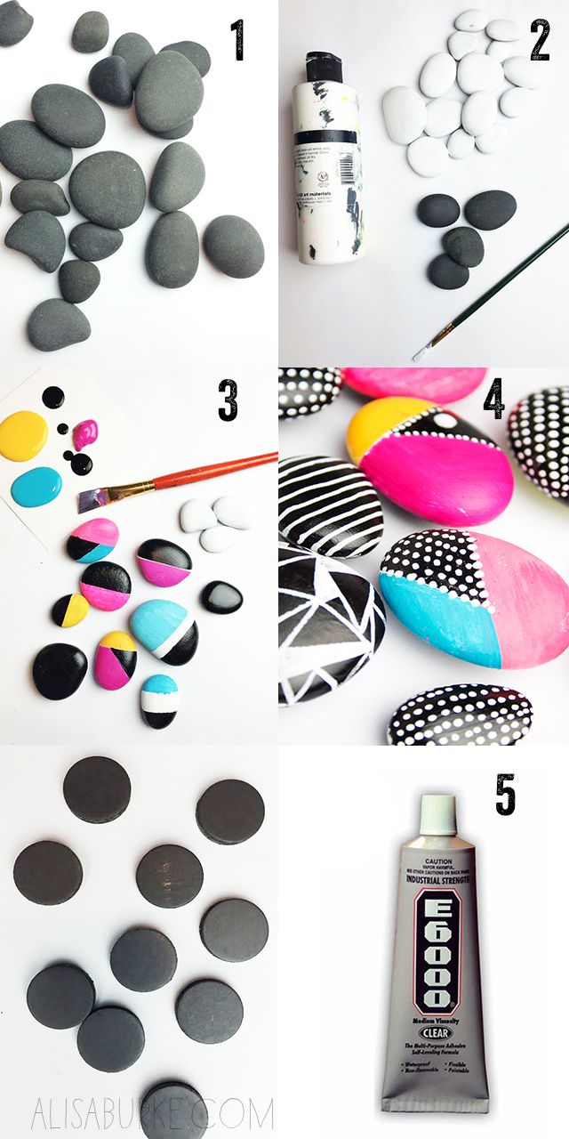 Painted river rocks add interest (these are magnets, but I like the idea for a garden)