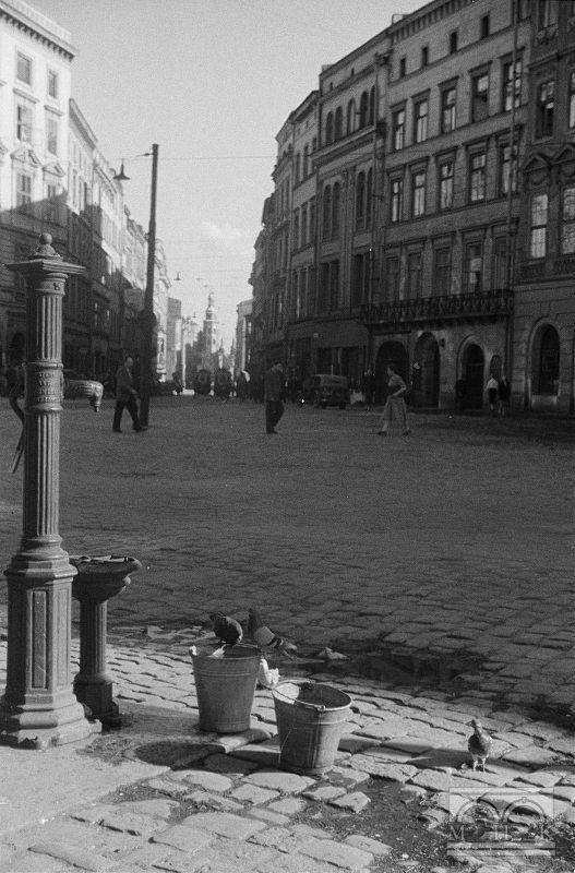 Rynek Główny, ul. Grodzka.Lata 40/50. XX w.