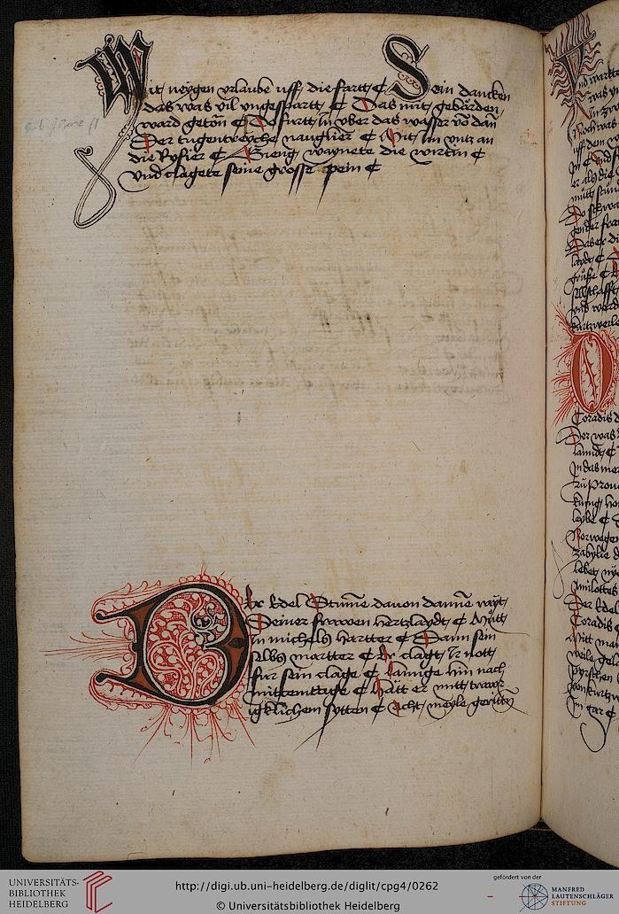 Cod. Pal. germ. 4 Rudolf von Ems: Willehalm von Orlens ; Dietrich von der Glesse: Der Gürtel (Borte) ; Peter Suchenwirt: Liebe und Schönheit u.a. — Schwaben/Grafschaft Oettingen (?), 1455-1479 122v