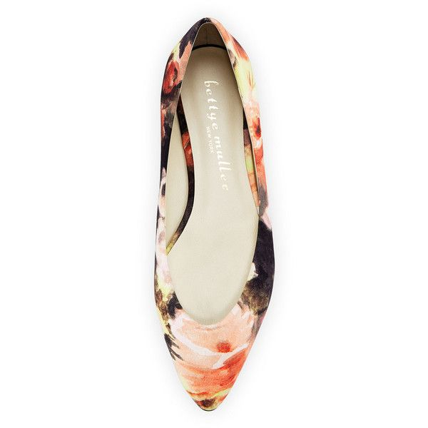 Bettye Muller Ponytail Fabric Ballerina Flat ($78) ❤ liked on Polyvore featuring shoes, flats, floral print shoes, ballet shoes, ballet flats, floral ballet flats and floral print ballet flats