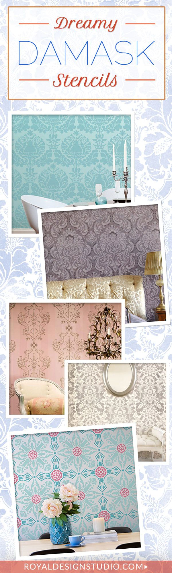Best 25 damask wall ideas on pinterest damask wall stencils damask wall stencils for easy diy decorating wall decor designer wallpaper stenciling and painting pattern amipublicfo Image collections