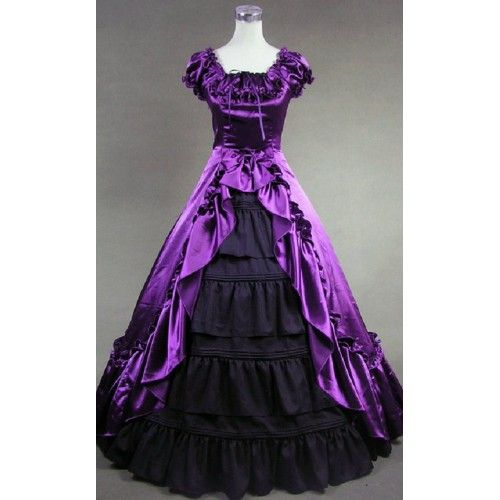 Vintage Purple Gothic Ball Gown Wedding Dresses With Cloak: Purple Old West Pioneer Southern Belle Gothic Lolita Prom