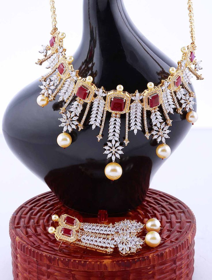 Reception Wear Necklace Set with Ruby Stones