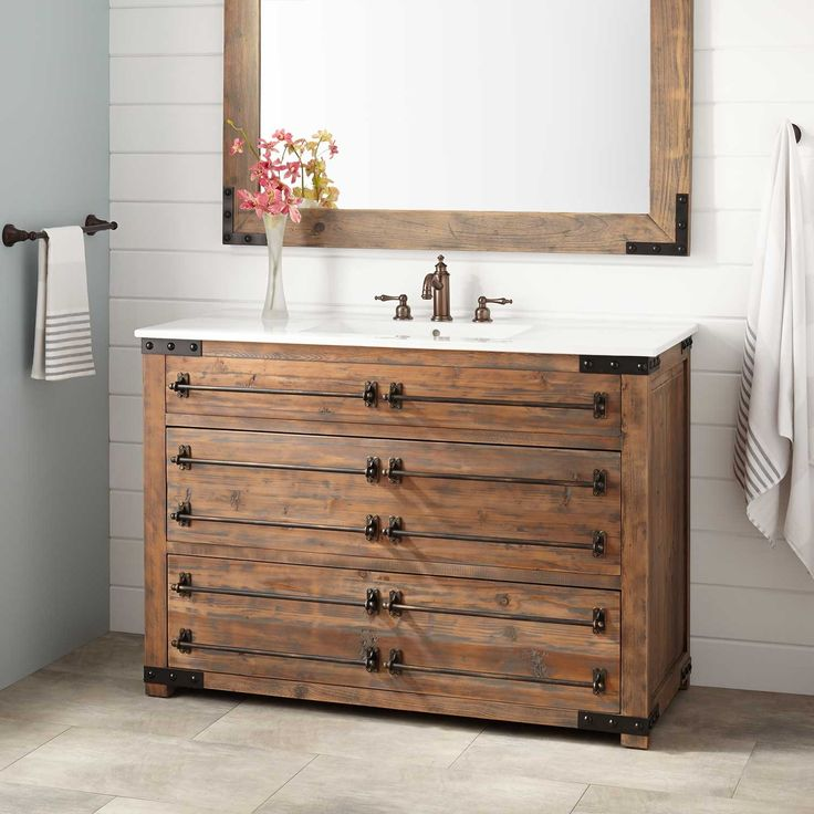 "48"" Bonner Reclaimed Wood Vanity for Rectangular Undermount Sink - Gray Wash Pine"
