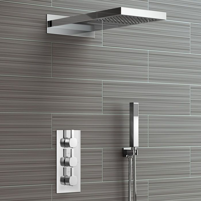 Rectangular Concealed Thermostatic Mixer Rainfall Shower Kit With