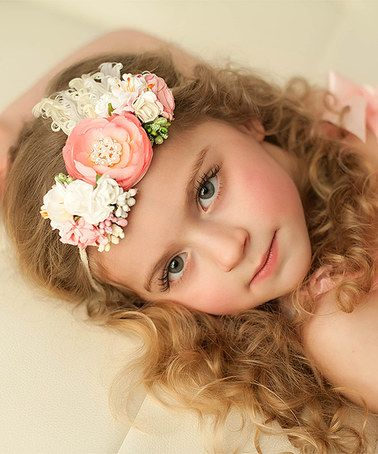 Look what I found on #zulily! Light Pink & White Floral Tie-Back Headband #zulilyfinds