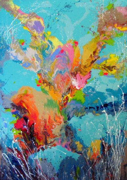 """VERY LARGE Abstract Painting on canvas """"Floral composition"""" 140 x 92 cm"""
