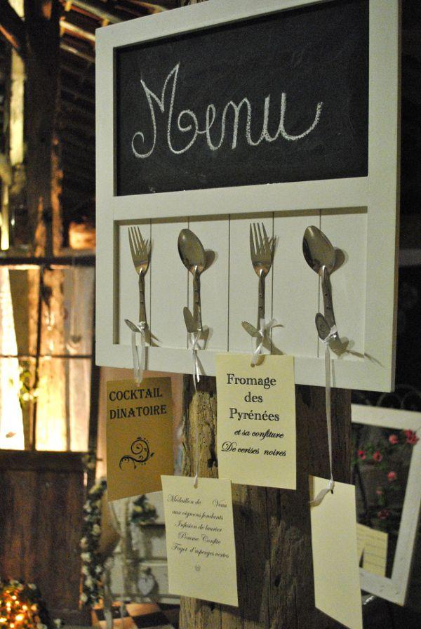 decoration de table mariage vintage retro menu