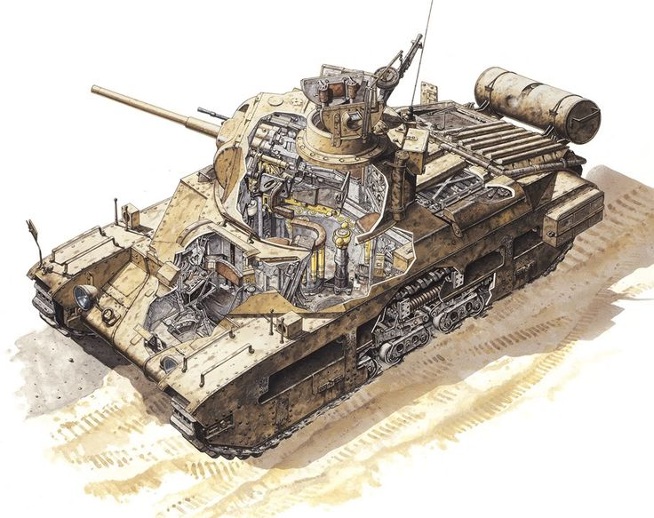 British infantry tank Matilda Mk II interior. Tank has british 2 pdr main gun (40 mm).