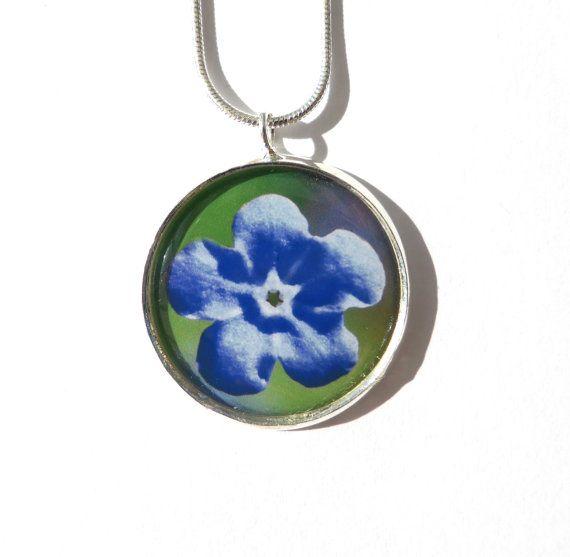 Blue Flower Pendant, Flower Necklace, Original Photo Jewellery, Unique Jewelry, Round Silver Pendant, Wearable Art, Original Image, For Her