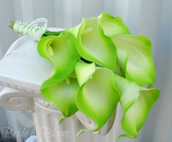Wedding bouquet lime green cream calla lily Bridal bouquet real touch wedding flowers on Etsy, $55.00 Love this!!!