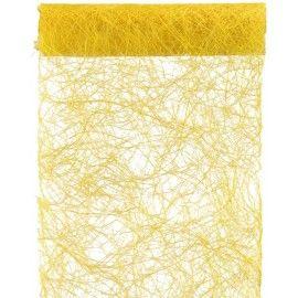 Chemin de table abaca jaune 5 M