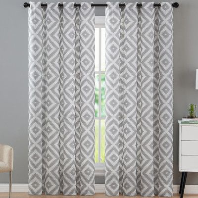 Mercury Row Brodersen Geometric Curtain Panels Color: Taupe, Size: 54 x 84