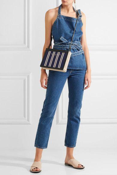 Balenciaga | Leather-trimmed striped canvas shoulder bag | NET-A-PORTER.COM