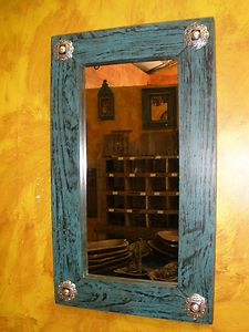 western mirrors | Turquoise Heaven Mirror Wood Mexican 20x34 Rustic Western Cowboy ...