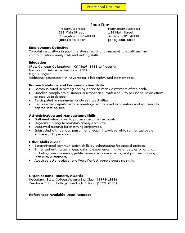 a functional resume my easy a s to z s