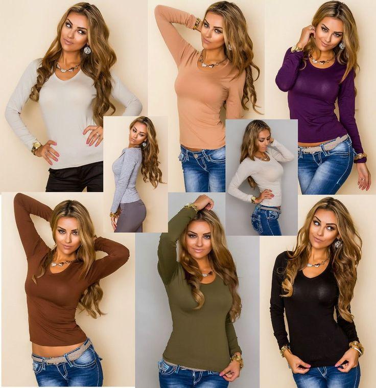 Damen Basic Shirt Langarm Bluse Top Pullover Oberteil Tailliert 36-40 8 Farben