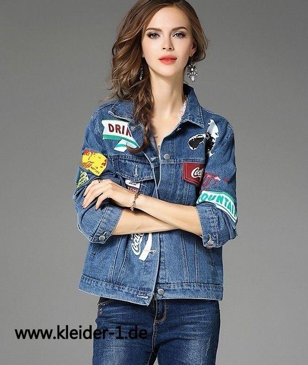 Damen Jeans Jacke in Hellblau mit Coole Muster