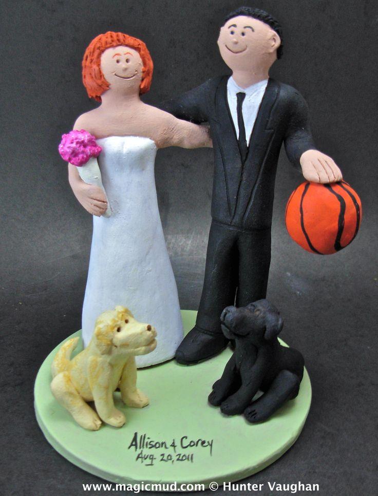 2 Labradors Wedding Cake Topper by http://magicmud.com/Wedding photos.htm magicmud@magicmud.com  1 800 231 9814  https://www.facebook.com/PersonalizedWeddingCakeToppers  https://twitter.com/caketoppers  #wedding #cake #toppers #custom#personalized #Groom #bride #anniversary #birthday#weddingcaketoppers#cake toppers#figurine#gift#wedding cake toppers#basketball#labrador