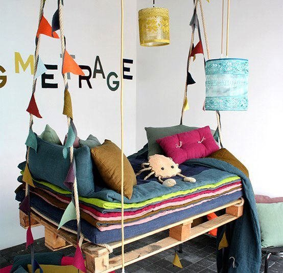 Hanging day beds are seriously cool