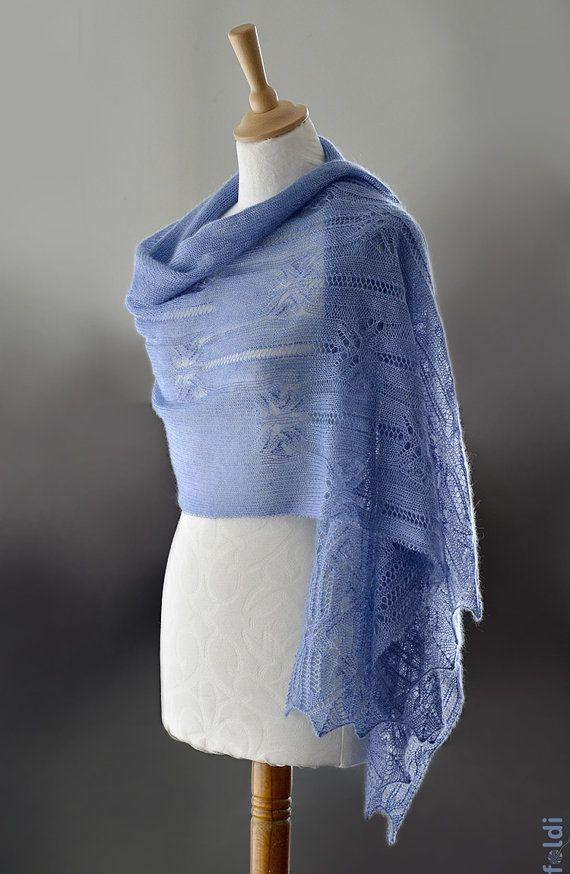 Вязаный шарф кружева, шелк и мохер кружева шарф, шнурок украл, платок в голубой цвет 'Бабочка'