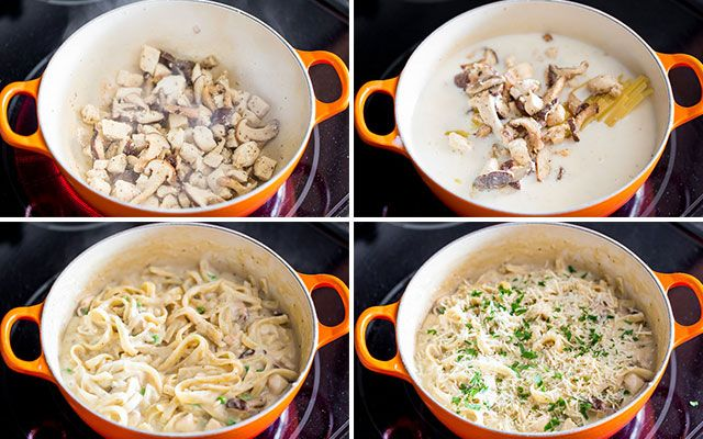 One Pot Chicken and Mushroom Tetrazzini - a simple but creamy, rich and delicious pasta dish with chicken and mushrooms ready in 35 minutes :  jocooks