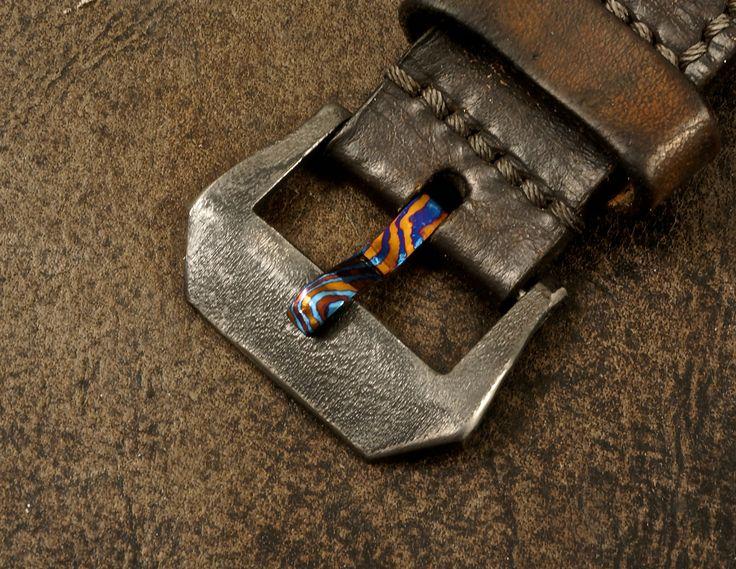 24mm Orange Peel Zirconium Watch Buckle with a Timascus Tongue