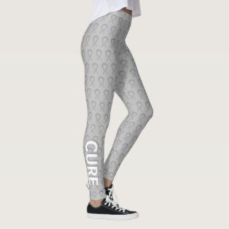 Silver Awareness Ribbon Hope & Cure Art Leggings - The silver awareness ribbon color means support for Bell's Palsy, Children with Physical or Learning Disabilities, Disability Rights, Dyslexia, Elderly Abuse, Encephalitis, Parkinson's Disease, Schizophrenia, Brain Disorders and the Disabilities, and Stalking Awareness. Let this silver ribbon help bring awareness to these causes!