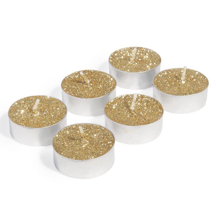 6 goudkleurige theelichtkaarsen