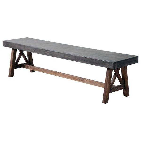 Industrial Outdoor Bench – Cement & Wood (Set of 2)
