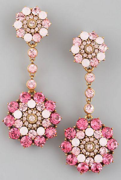 Oscar de la Renta Rhinestone Drop Earrings, Pink