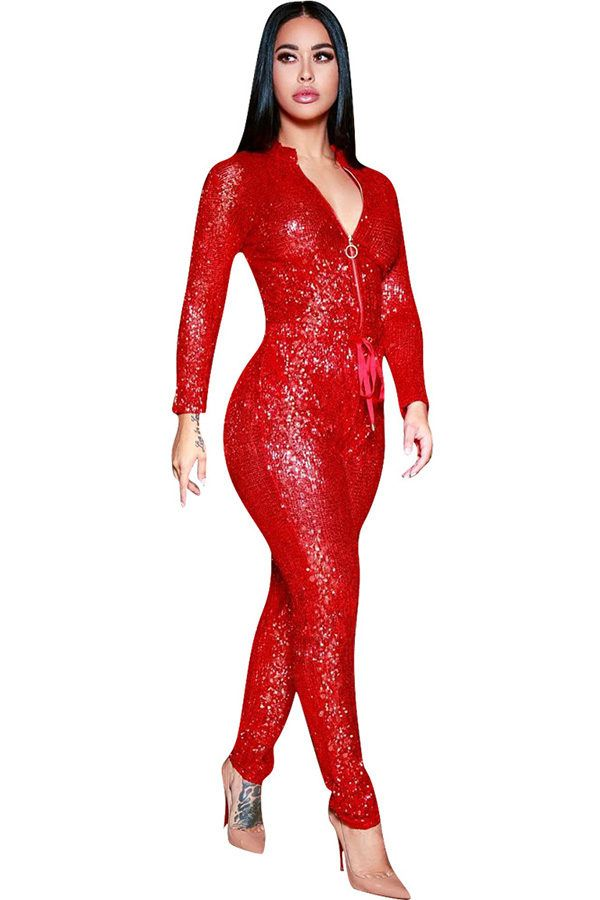 039771bec83 Hualong Sexy Night Club Long Sleeve Red Sequin Jumpsuit  women  fashion   overalls  jumpsuit  outfits  bodysuit  fitness  club  partyideas  playsuit