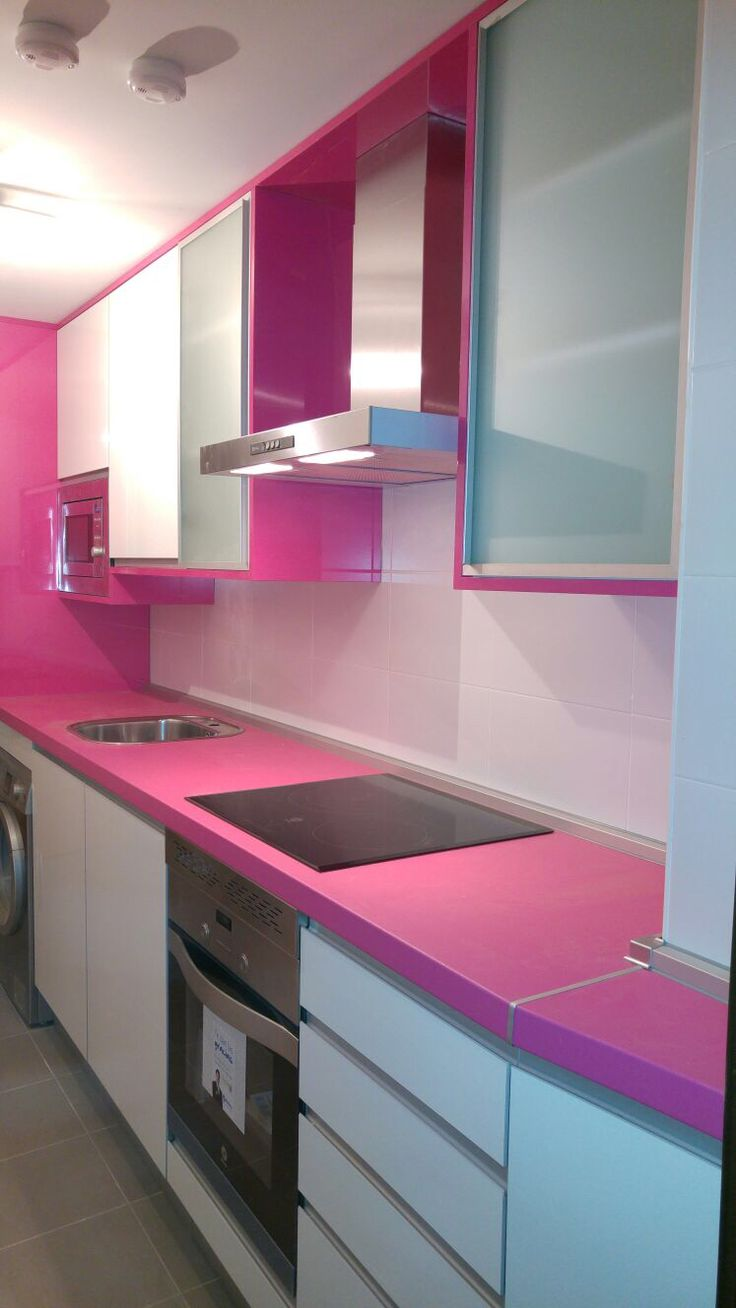 Cocina rosa y blanca brillo muebles de cocina edymar - Cocinas blancas brillo ...