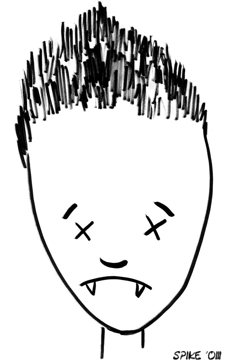 Spike's Captain Forehead drawing to motivate him at the punching bag :) Last episode of Buffy. Drawing actually done by Joss, I think at James Marsters' suggestion LOL