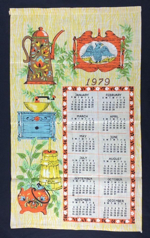 Details About Vtg Tea Bar Calendar Towel 1979 Antique Kitchen