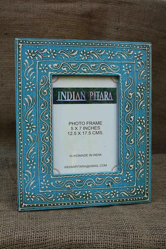 Wood Photo Frame Handmade Frame Hand Painted Frame Indian Decor Indian Art Picture Frame Table Photo Hand Painted Frames Handmade Photo Frames Handmade Frames