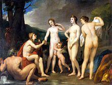 Paris is awarding the apple to Aphrodite Urteil des Paris by Anton Raphael Mengs, c. 1857