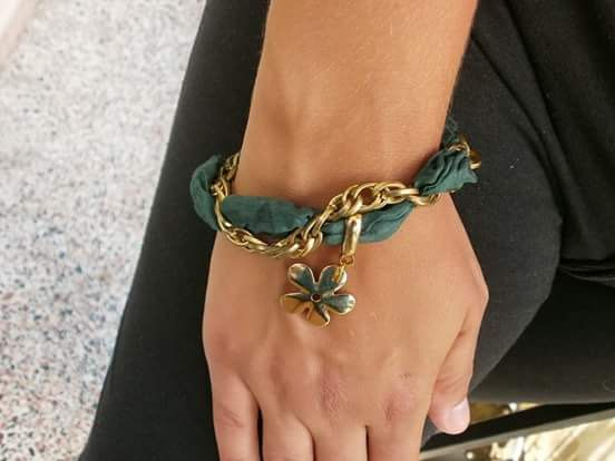 golden flower bracelet by aggelinokosmos on Etsy