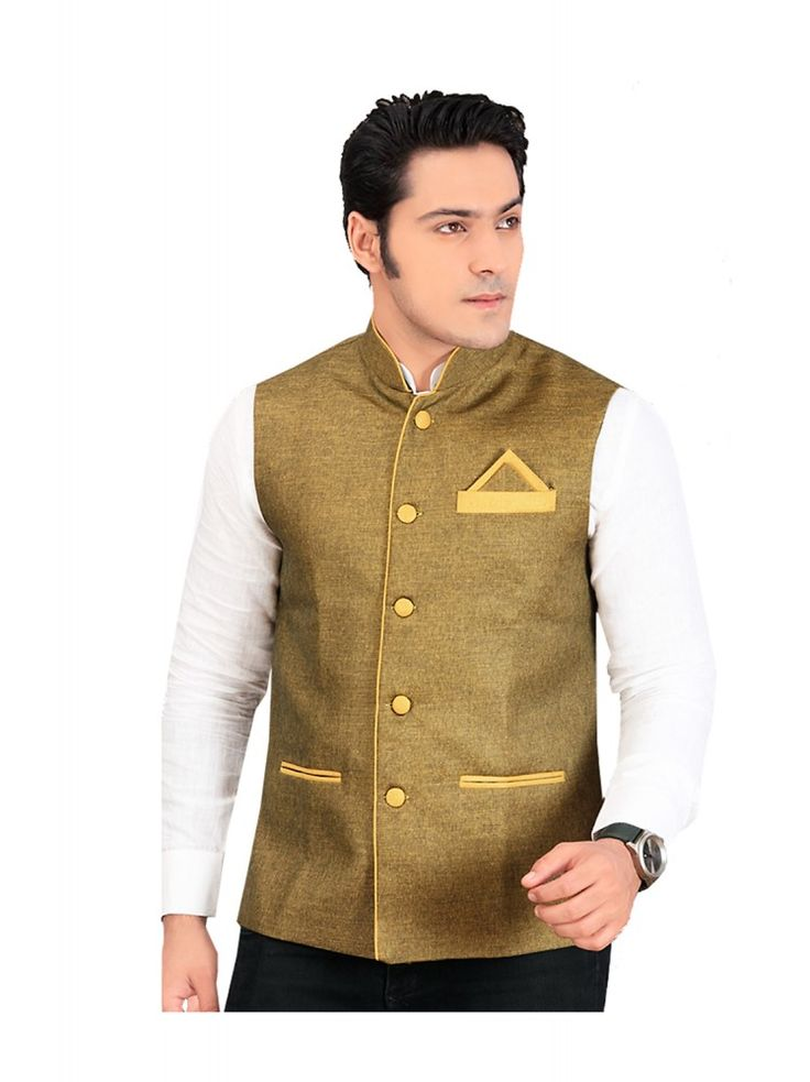 Indian Waist Coat Brocate Fabric Brown Color Mens wear - http://bit.ly/2hpq0H4