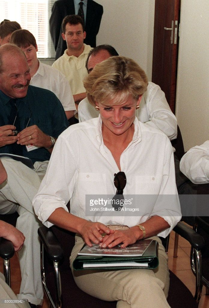 January 15, 1997: Diana, Princess of Wales at a briefing on the work of the British Red Cross at the International Red Cross Headquarters in Luanda, Angola.
