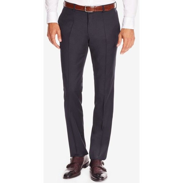 Boss Men's Slim-Fit Virgin Wool Dress Pants ($275) ❤ liked on Polyvore featuring men's fashion, men's clothing, men's pants, men's dress pants, navy, mens slim fit dress pants, mens pants, mens slim pants, mens suit pants and mens slim fit pants