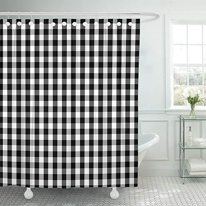 Amazon Com Emvency Shower Curtain Curtains Plaid Black And White Buffalo Gingham Pattern With Slight Grain And Checks Country 72 X96 Wat Curtains Plaid Shower Curtain Master Bath Remodel