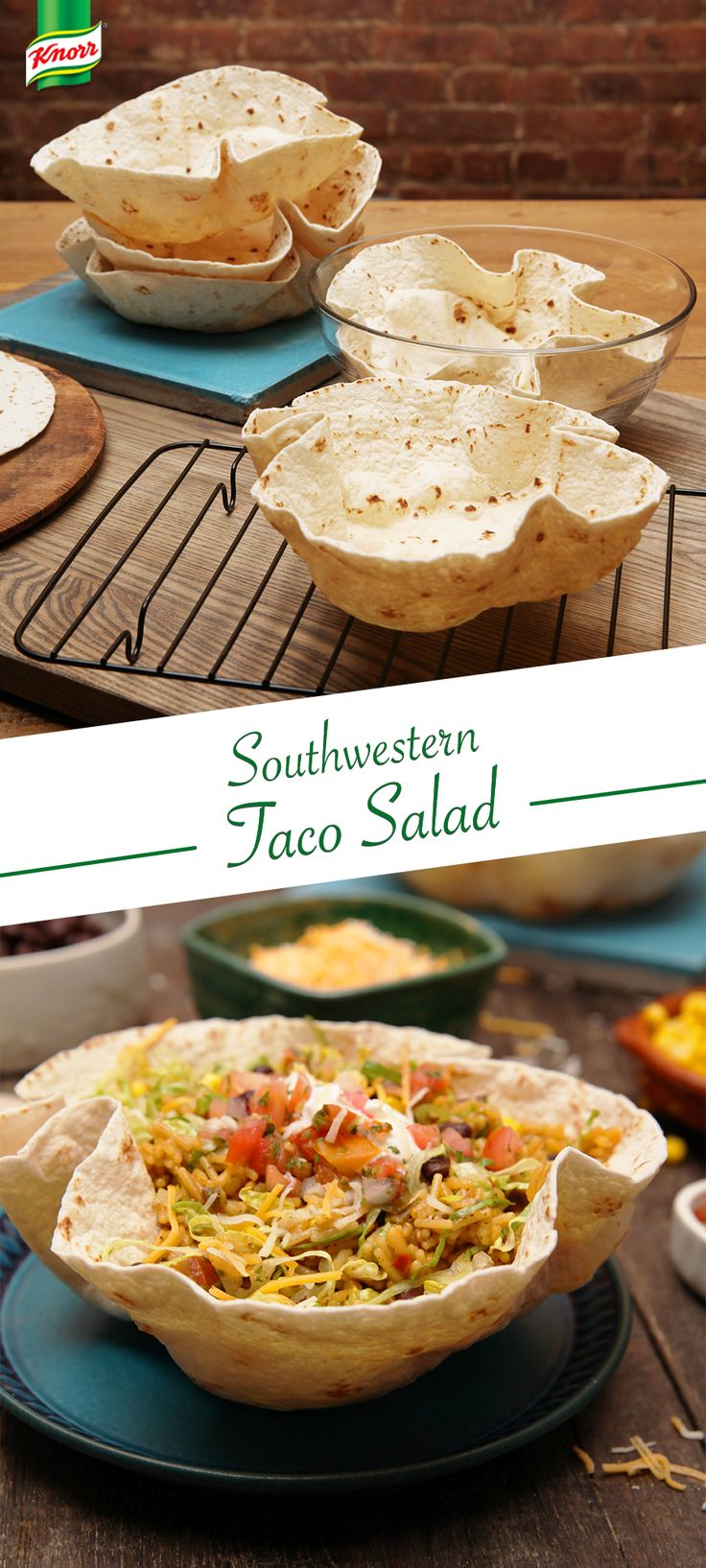 Put some color in that tortilla bowl with a Southwestern Taco Salad recipe you're bound to love! Press 1 tortilla into a microwave-safe bowl to form bowl shape. Microwave at HIGH 1-1/2 mins. Let cool. Gently lift out & arrange on serving plate. Repeat w/ remaining tortillas. In saucepan used to cook Spanish Rice, combine rice, black beans & corn; heat through. In tortilla bowls, evenly arrange lettuce. Evenly top w/ rice mixture, then sprinkle w/ cheese. Top w/ your favorite toppings.