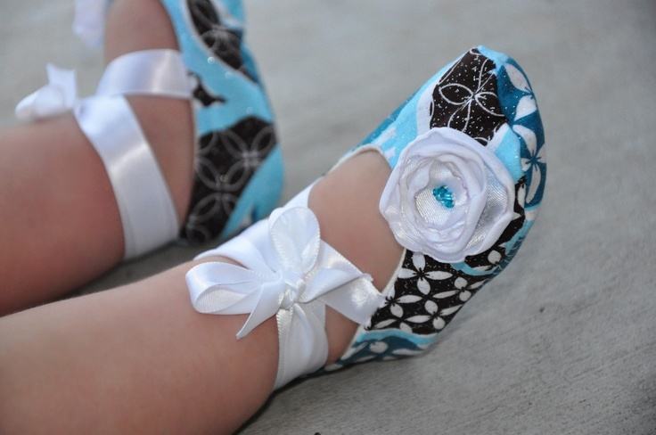 Blue Brown and White Baby Ballerina Shoes. $20.00, via Etsy.