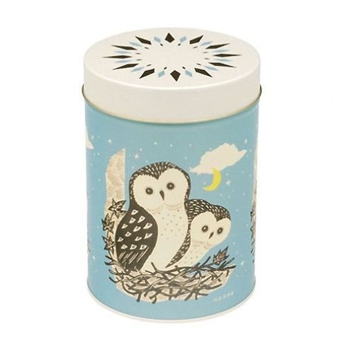 John Hanna owl cylinder storage tin- features the eyecatching design - for storing tea, jewellery, biscuits, etc. Home ware & storage tins at blankclothing.com.au