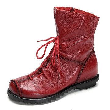 Le meilleur SOCOFY Bottes De Grande Taille Couleur Pure Ornés De Lacet  Chaussures Confortables En Cuir Fermeture Éclair vend bien, acheter SOCOFY Bottes  De ...