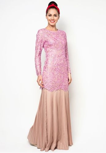 Embroidered Lace Kurung With Pleated Skirt #zalora